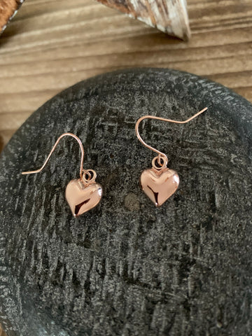 Rose gold coloured drop heart earrings