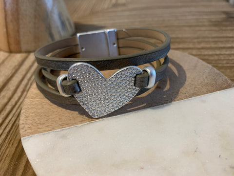 Silver leather/ heart bracelet