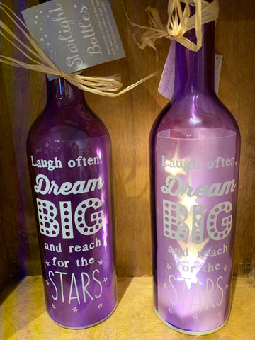 Laugh often dream big LED bottle