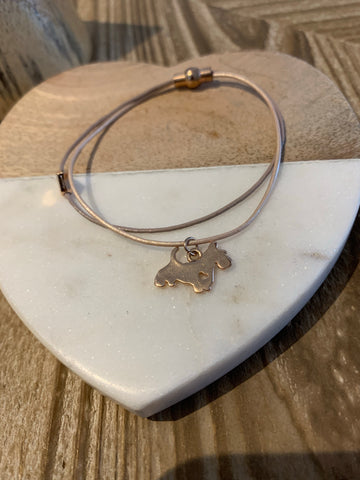 Leather strand dog bracelet