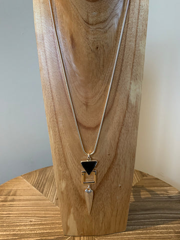 Long necklace with black triangle