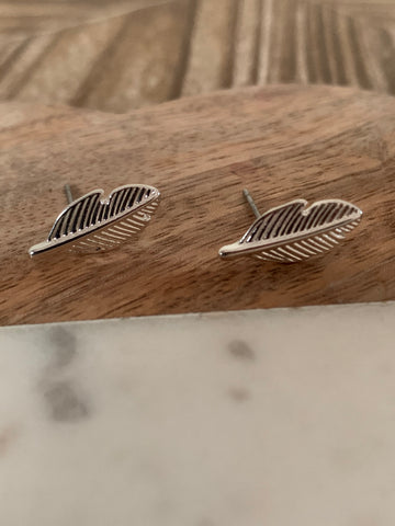 Silver coated feather stud earrings