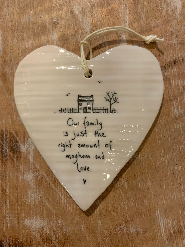 Our family porcelain hanging plaque