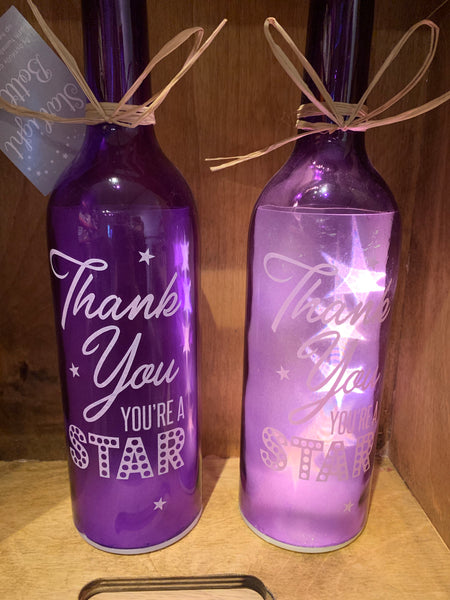 Thank you you're a star LED bottle