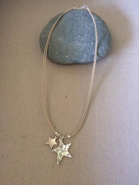 Double Star on leather multi strand necklace