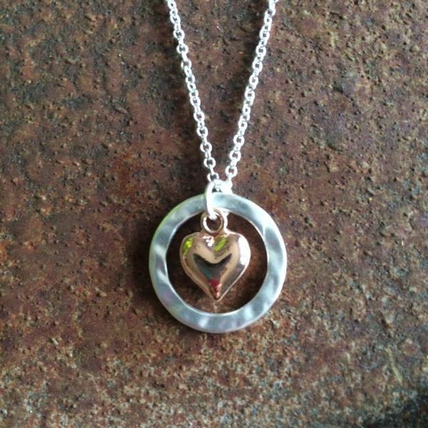 Rose Gold Heart in Silver Circle Necklace