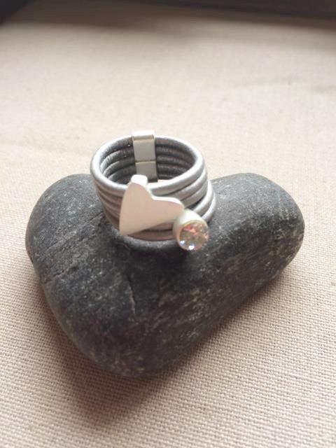 Grey Leather Ring with Silver Heart/Crystal