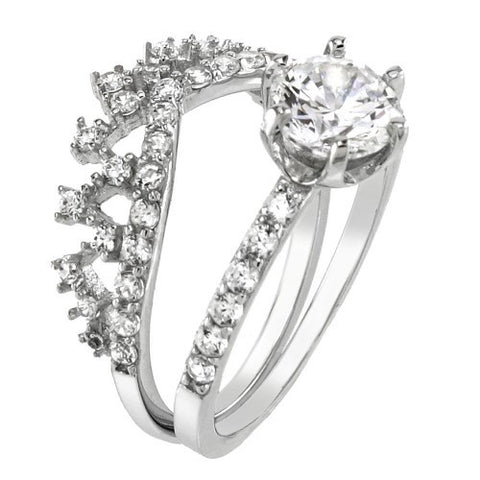 Sterling silver Cubic Zirconia Crown Ring Set - thingsthatsparkleni.co.uk