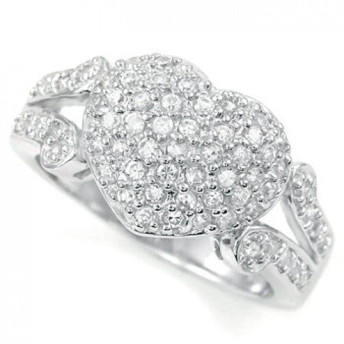 Sterling Silver Cubic Zirconia Heart Shape Round CZ Ring - thingsthatsparkleni.co.uk