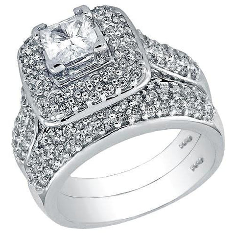925 Silver 5x5mm Cubic Zirconia Princess & Round Ring Set - thingsthatsparkleni.co.uk