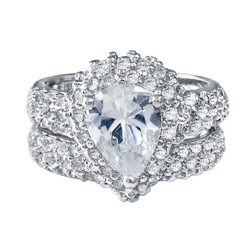 925 Silver Pear Shape & Round CZ Ring Set - thingsthatsparkleni.co.uk