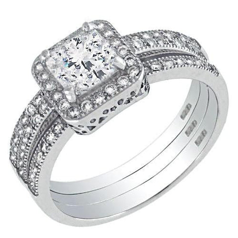 925 Sterling Silver 6x6 Princess & 1MM round CZ Ring Sets - thingsthatsparkleni.co.uk