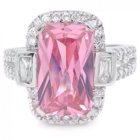Sterling Silver Pink Rectangle Clear Round & Baguette CZ Ring - thingsthatsparkleni.co.uk