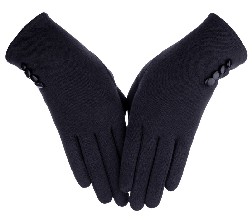Knolee Women's Button Touch Screen Glove Lined Thick Warmer Winter Gloves