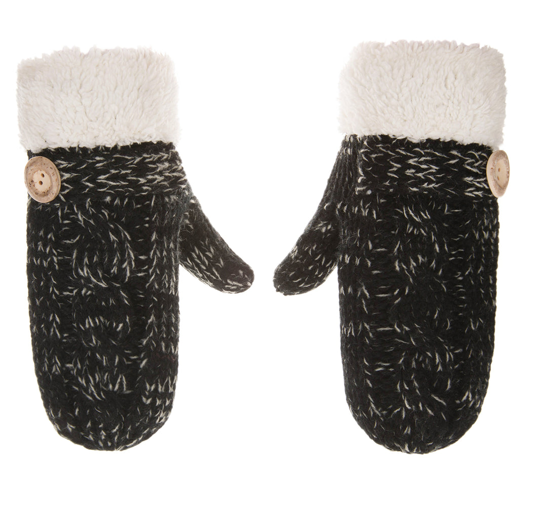 Knolee Winter Motley Warm Mittens Thick Lined Fingerless Gloves