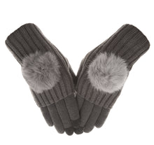 Knolee Womens Pom Removable Warm Thick Knitted Touchscreen Gloves 2 Piece Set