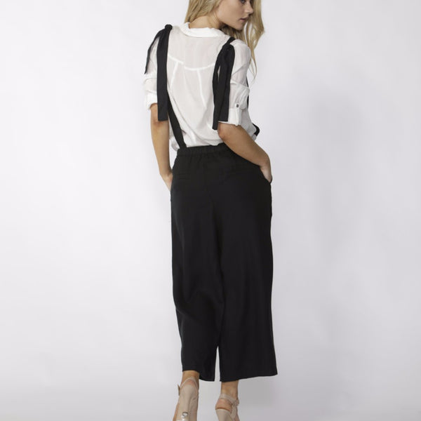 back view fate and becker messina jumpsuit convertible black jumpsuit with serenade summer shirt