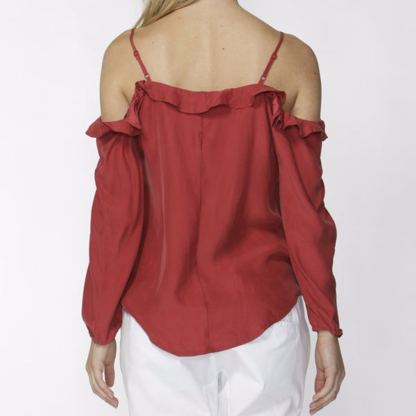 rear view cold shoulder top Darina Top by Fate & becker in strawberry red
