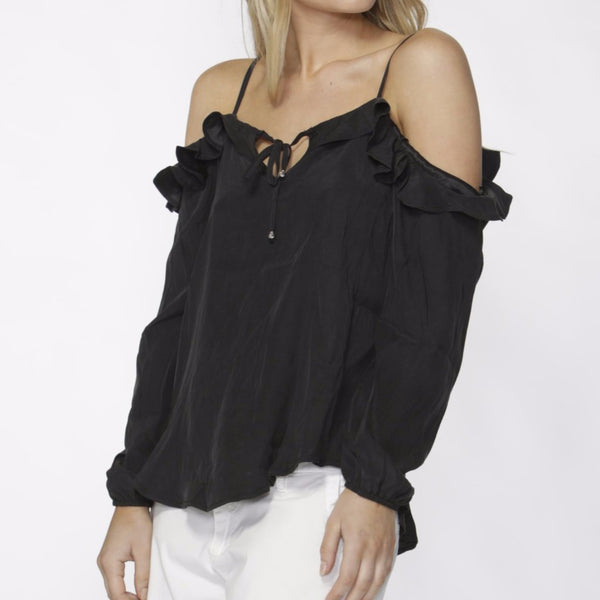 antique black Darina cold shoulder top by Fate & Becker party wear christmas party top