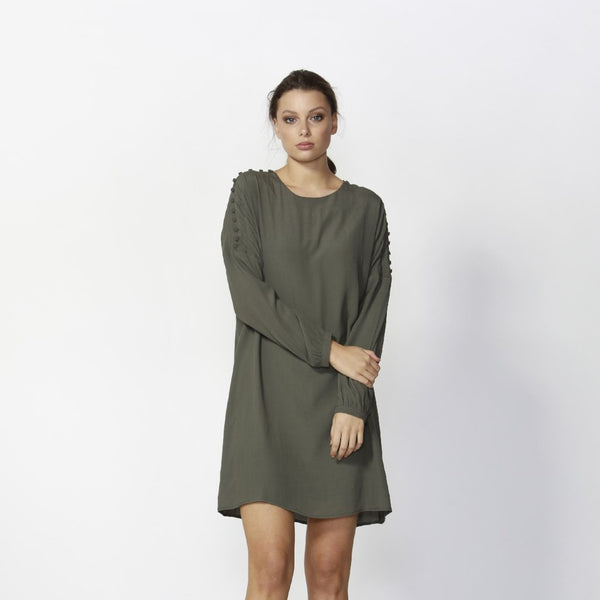 long sleeve mini dress Fate & Becker flora dress khaki
