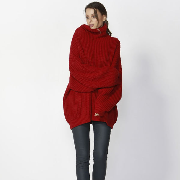 Red oversized knit high neck fate & becker manda