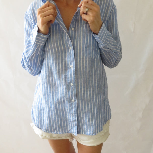 style kit relaxed fit 100% linen striped shirt blue white stripe collar button shirt