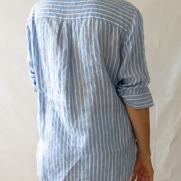 back view style kit 100% linen striped shirt blue white stripe collar button shirt