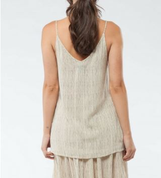 back view cuba cami style kit charcoal stripe summer camisole