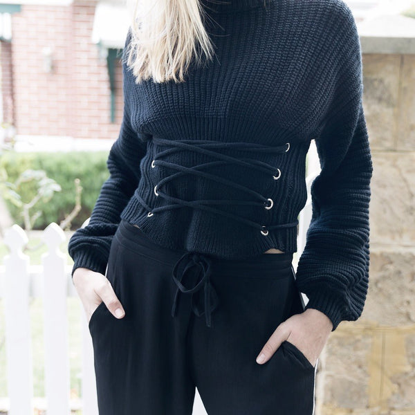 Bagira black corset style sweater jumper knit