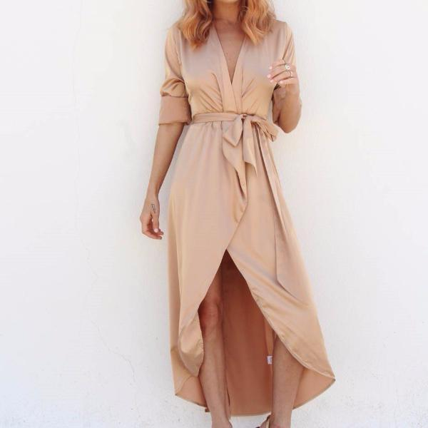 The Satin Maxi-dress-Never Fully Dressed-gold-Style Kit