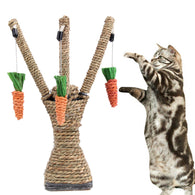 2-in-1 Handmade Sisal Tree Shaped Cat Scratch Post and Dangle Toy