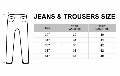 Jeans and Trousers Size Chart