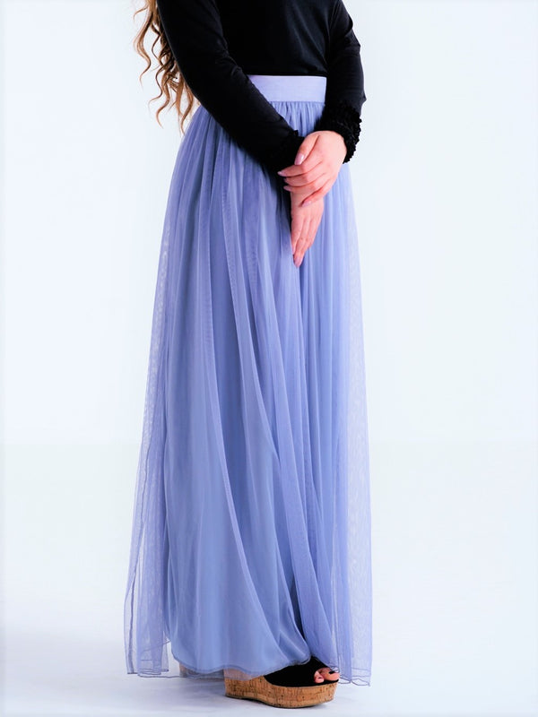 Casual Pleated Long Tulle Skirt - Purple