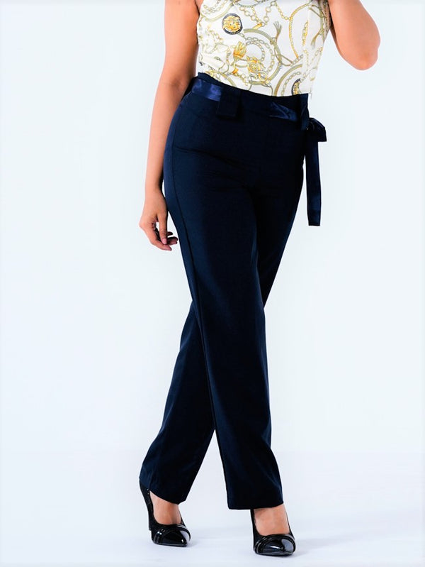 Premium Stretch Formal Trousers - Navy Blue - 105