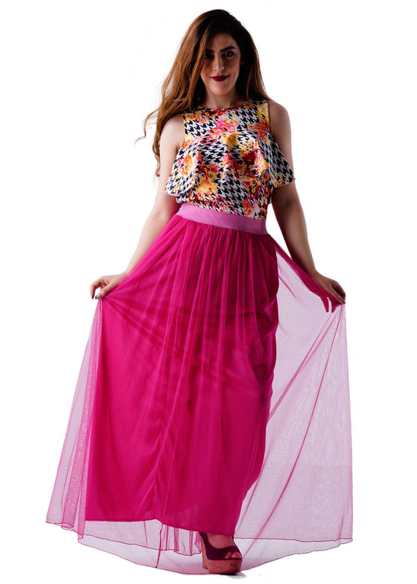 Casual Pleated Long Tulle Skirt - Pink