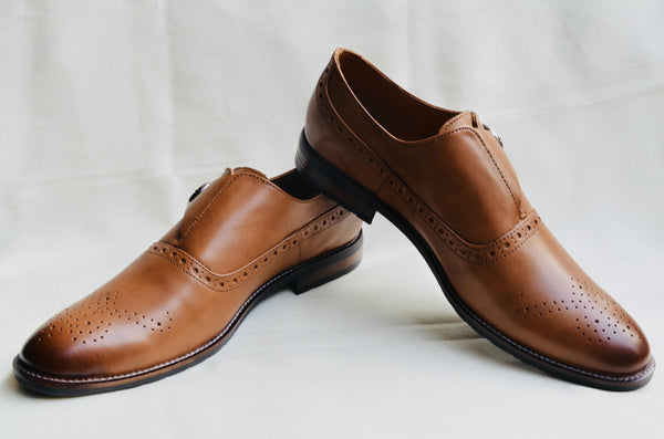 Leather Brogue Monks Shoes