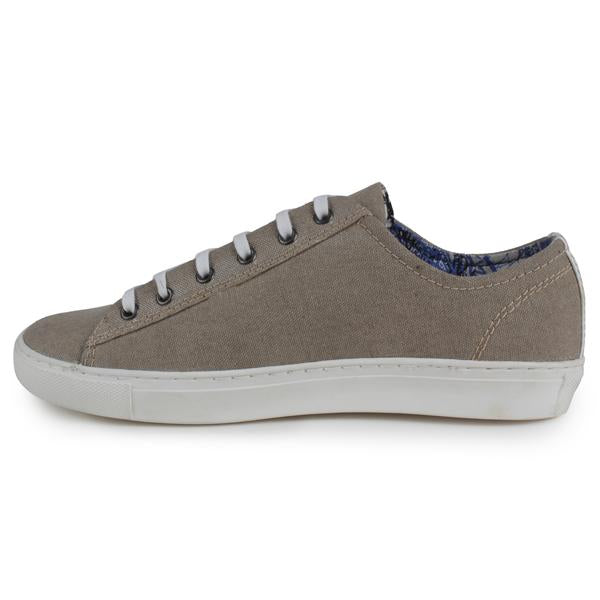 Beige Lace-Up Canvas Shoes