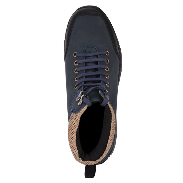 YZFeet Mens Leather Boots - Navy Blue