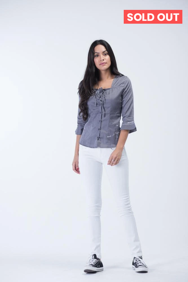 Top French Brand OEM Button shirt with Sweet-Heart neck design and bell sleeves -  Charcoal Grey