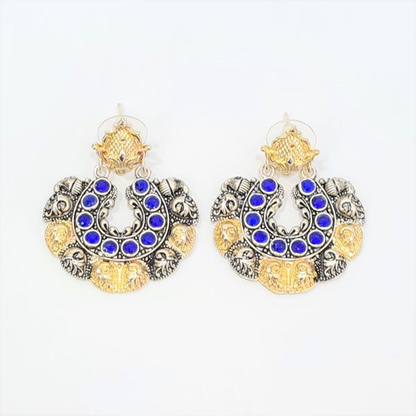 Royal Blue and Golden Earrings For Women