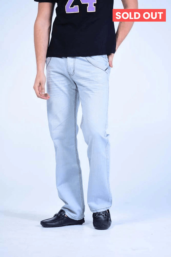 Straight Cut Jeans - Sky Blue Stone Washed