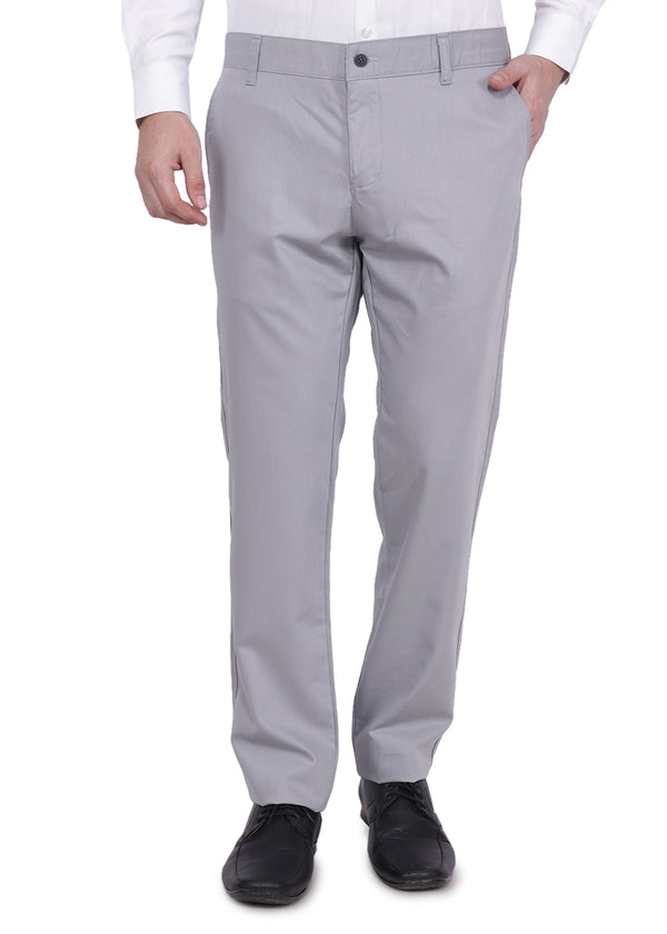 Men's Light Grey Formal Trousers