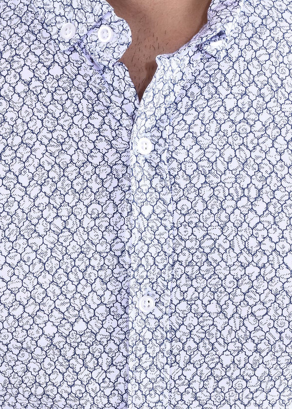 Men's White Blue Print Full  Sleeves Shirt