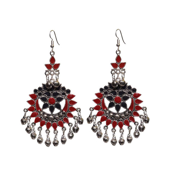 Afghani Silver Red and Black earring