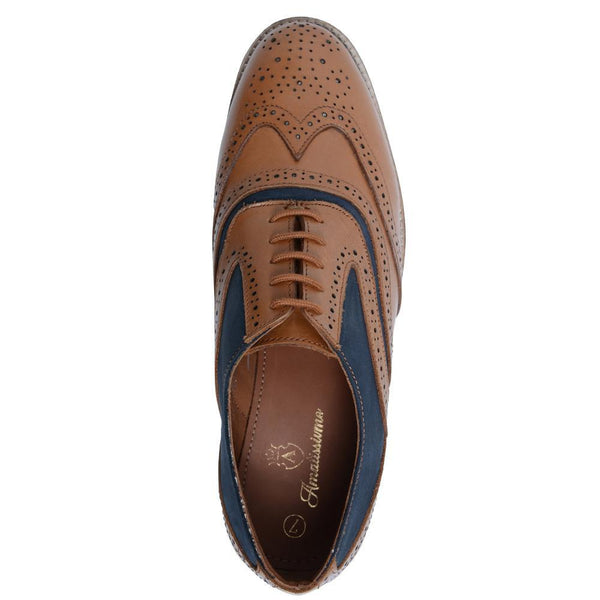 Tan Crust Blue-Nubuck Shoes
