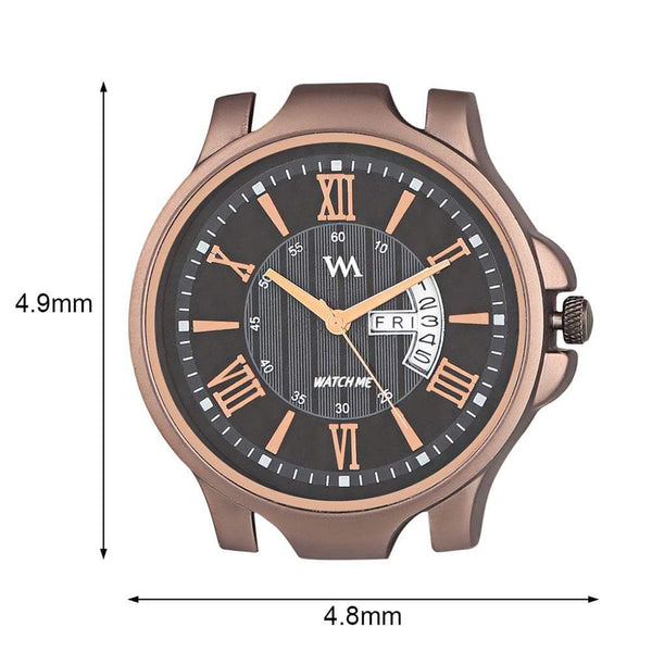 Analog Black Dial Brown Leather Strap Quartz Watches for Men