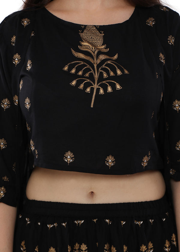 A trendy & Modern black Lehenga outfit with Croptop