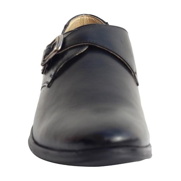 Black Real Leather Monk Shoes