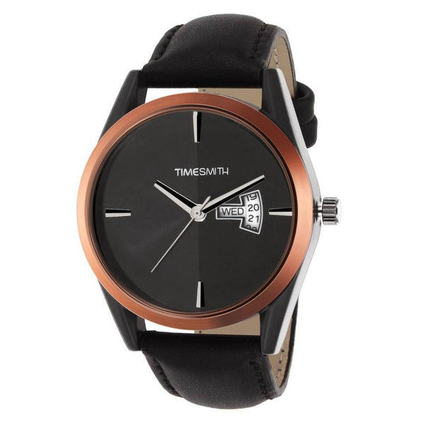 Black Dial Black Leather Strap Genuine Premium Branded Day Date Analog Watch for Men