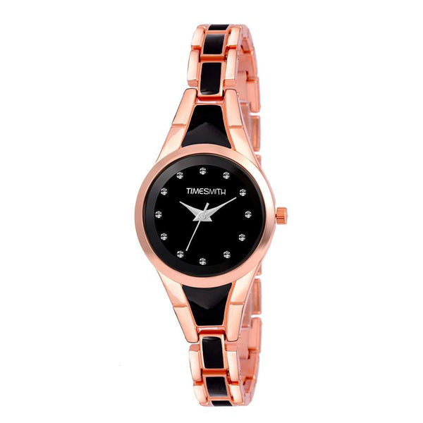 Black Dial Gold Stainless Steel Analog Watch for Women